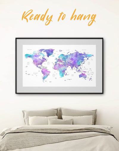 Framed Map of the World Wall Art Print - bedroom Blue blue and white Blue wall art for living room contemporary wall art