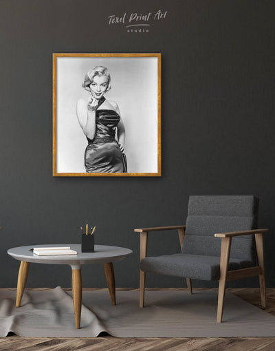 Framed Marilyn Monroe Wall Art Canvas - bedroom black and white wall art framed canvas Grey grey bedroom wall art