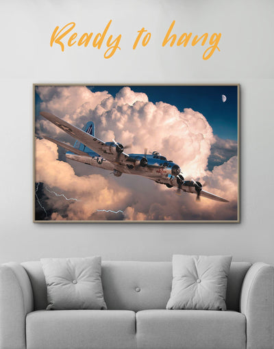 Framed Military Aircraft Wall Art Canvas - airplane wall art bachelor pad framed canvas Hallway Living Room