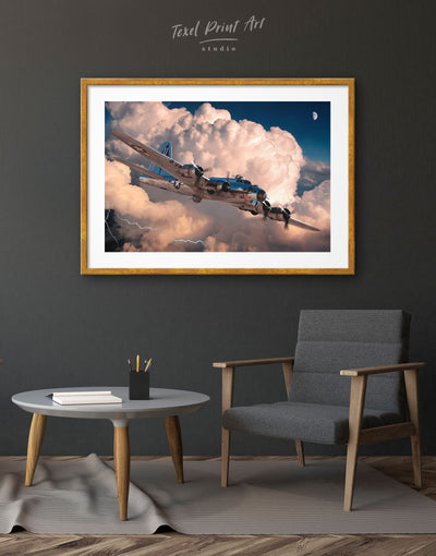 Framed Military Aircraft Wall Art Print - airplane wall art bachelor pad framed print Hallway Living Room