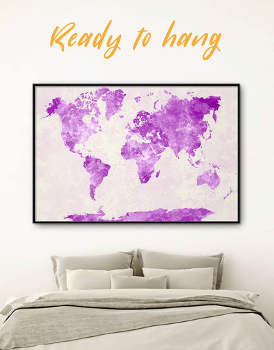 Framed Minimalistic Map of the World Wall Art Canvas - Abstract Abstract map bedroom framed canvas framed world map canvas