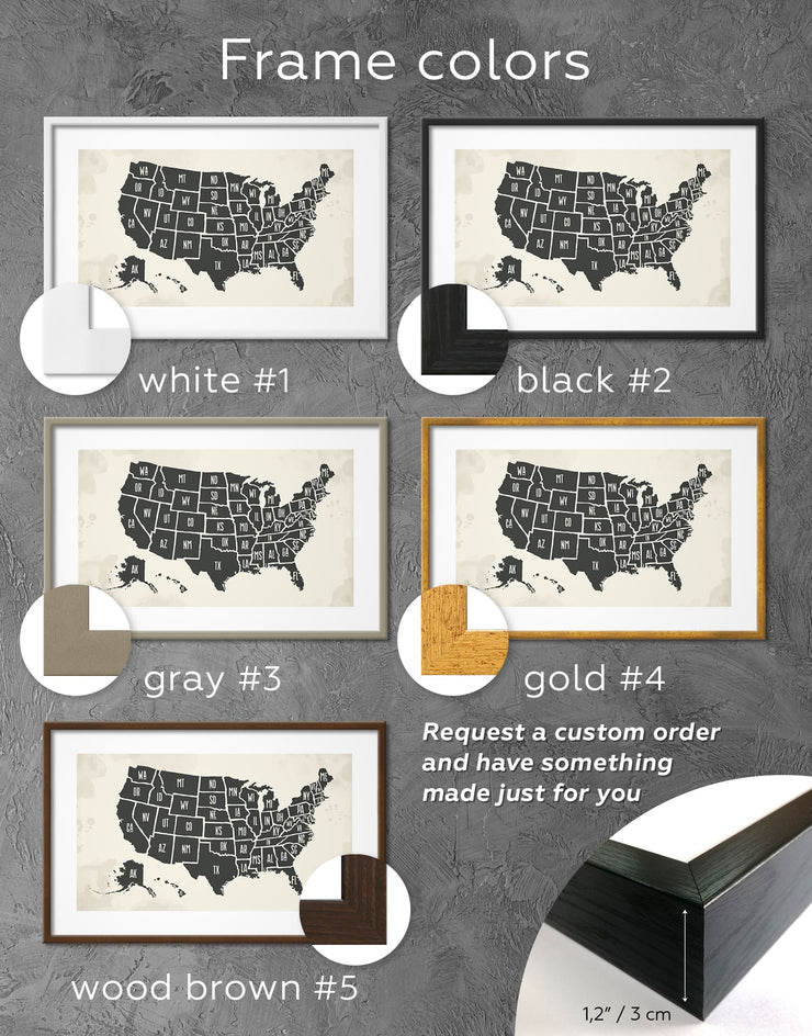 Framed Minimalistic Map of USA Wall Art Print - bedroom black black and white wall art Contemporary framed print