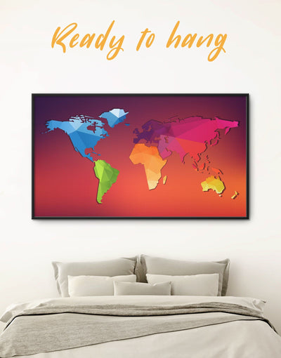 Framed Minimalistic Map Wall Art Canvas - Abstract Abstract map bedroom framed framed canvas
