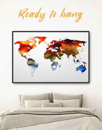 Framed Minimalistic World Map Wall Art Canvas - Abstract map bedroom framed canvas framed world map canvas geometric world map