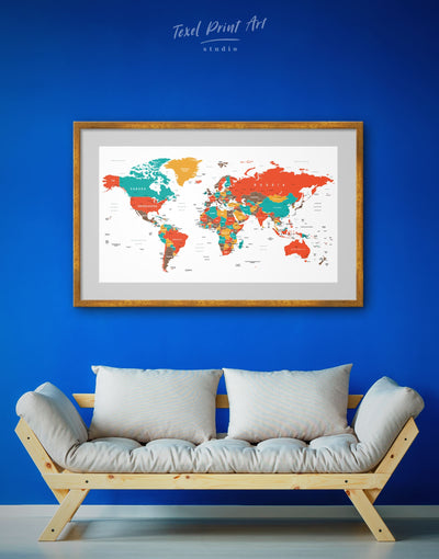 Framed Minimalistic World Map Wall Art Print - framed print framed world map print green Living Room Office Wall Art