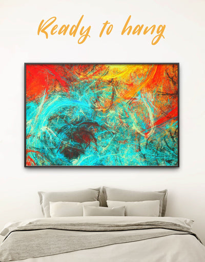 Framed Modern Abstract Wall Art Canvas - Abstract Blue Abstract Wall art Bright colored Contemporary contemporary wall art