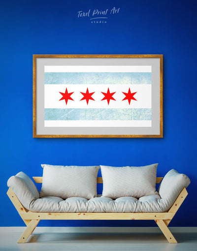 Framed Modern Chicago Flag Wall Art Print - Flag Wall Art framed print Living Room Office Wall Art Patriotic