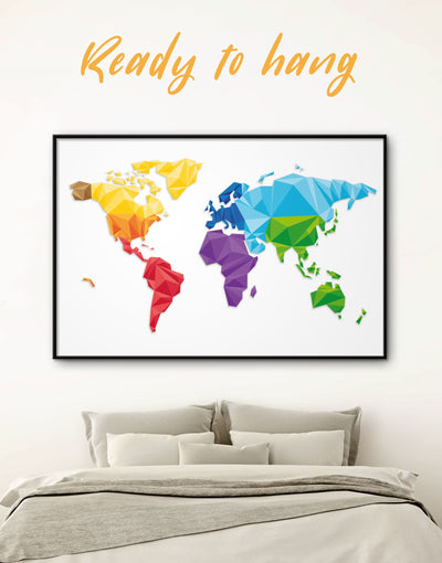 Framed Modern Map Of The World Wall Art Canvas - Abstract map framed canvas framed world map canvas geometric world map Living Room