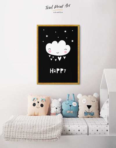 Framed Modern Nursery Art Canvas - Canvas Wall Art Black black and white framed canvas Kids room kids wall art