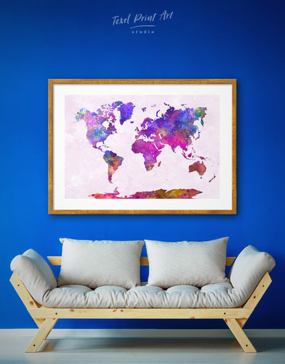 Framed Modern Purple World Map Wall Art Print - Abstract map framed map wall art framed print framed world map print Hallway