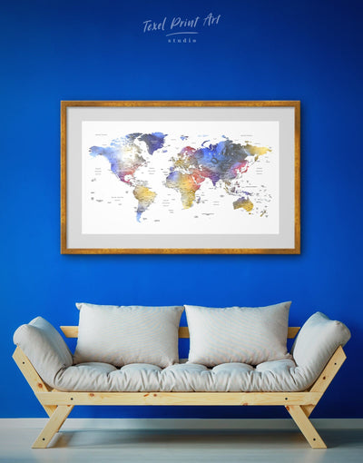 Framed Modern Travel Map Wall Art Print - bedroom Blue blue and white contemporary wall art framed