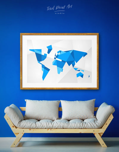 Framed Modern World Map Wall Art Print - Abstract Abstract map bedroom Blue blue and white