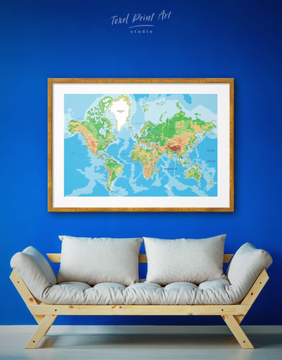 Framed Modern World Map Wall Art Print - bedroom blue and green wall art framed print framed world map print Living Room