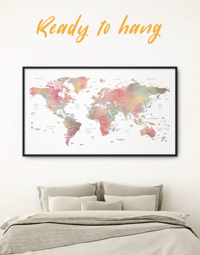 Framed Modern World Map With Pins to Push Wall Art Canvas - bedroom contemporary wall art corkboard framed framed canvas