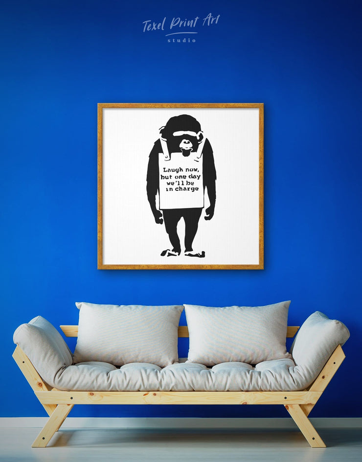 Framed Monkey Laugh Now by Banksy Wall Art Canvas - Banksy banksy wall art Black black and white wall art Contemporary