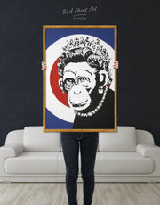 Framed Monkey Queen by Banksy Wall Art Canvas
