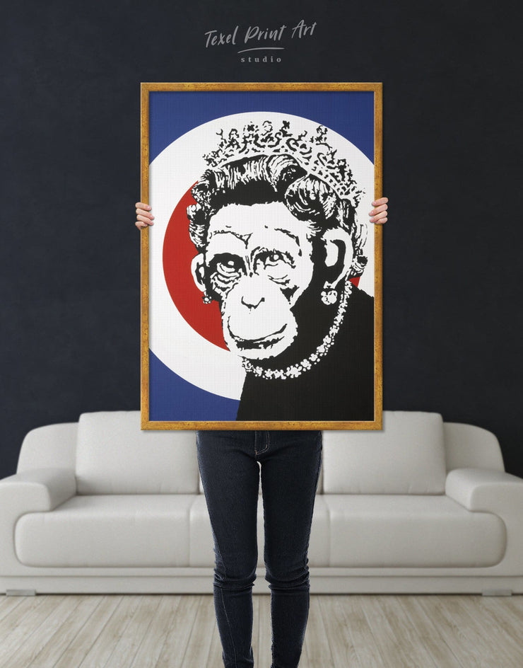 Framed Monkey Queen by Banksy Wall Art Canvas - Banksy banksy wall art bedroom Black Contemporary