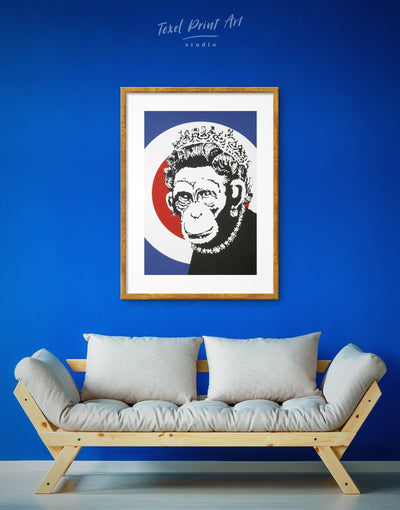 Framed Monkey Queen by Banksy Wall Art Print - Banksy banksy wall art bedroom Black Contemporary