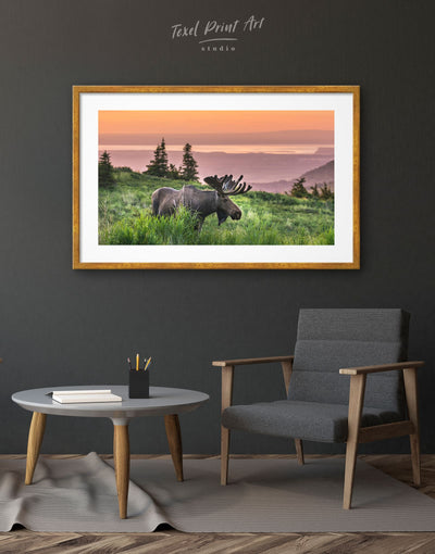 Framed Moose Wall Art Print - Animal Animals bedroom Dining room framed print