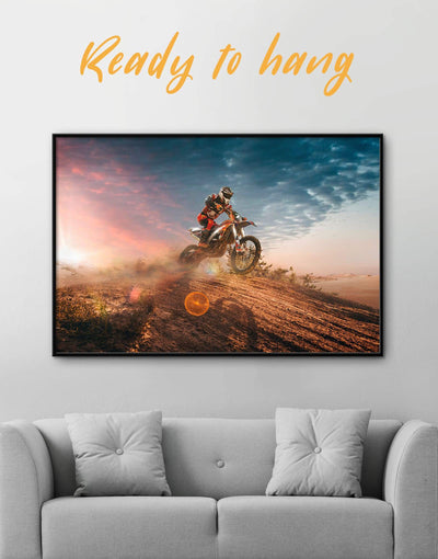 Framed Motocross Wall Art Canvas - Canvas Wall Art bachelor pad framed canvas Hallway Living Room manly wall art
