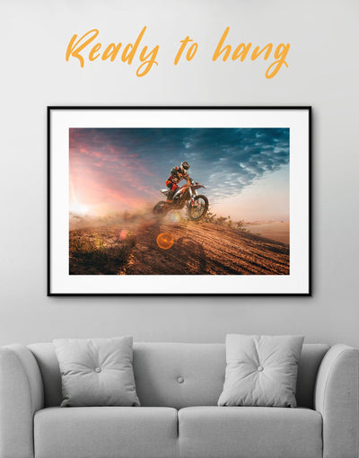 Framed Motocross Wall Art Print - Wall Art bachelor pad framed print Hallway Living Room manly wall art