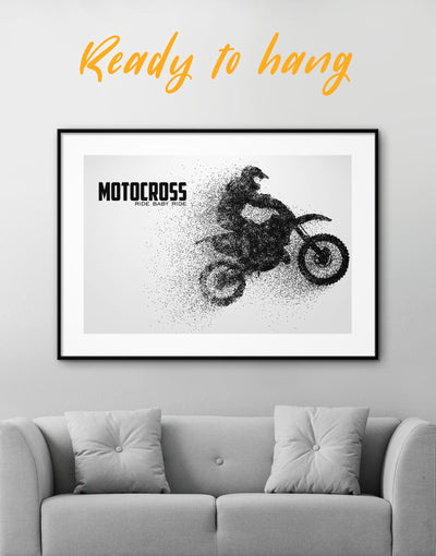 Framed Motocross Wall Art Print - Wall Art black black and white wall art framed print Hallway Living Room