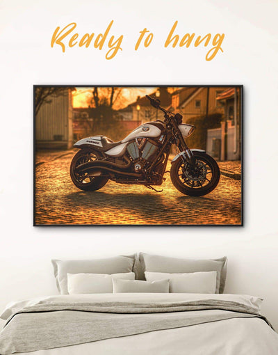 Framed Motorbike Wall Art Canvas - bachelor pad bedroom framed canvas Hallway inspirational wall art