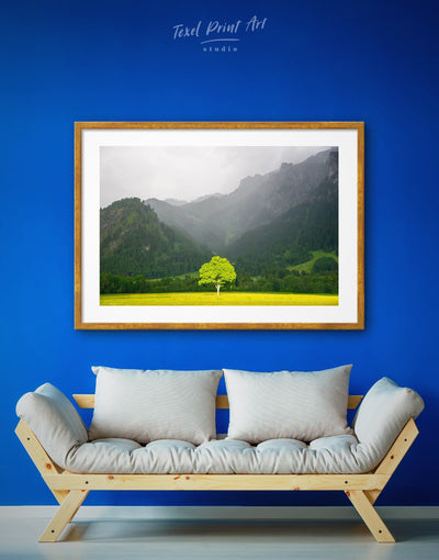 Framed Mountain Forest Wall Art Print - bedroom forest wall art framed print Green Kitchen