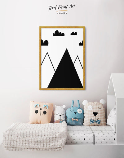 Framed Mountain Nursery Wall Art Canvas - Canvas Wall Art Black black and white framed canvas Kids room kids wall art