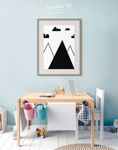 Framed Mountain Nursery Wall Art Print - Wall Art black black and white framed print Kids room kids wall art