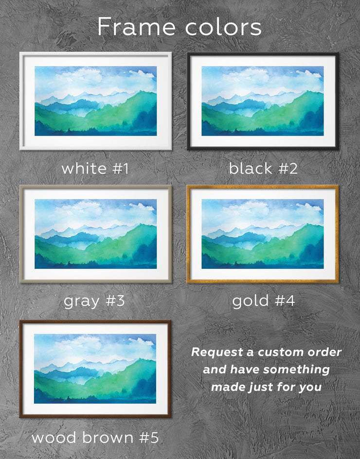 Framed Mountains Ridge Wall Art Print - bedroom blue and green wall art framed print framed wall art landscape wall art