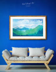 Framed Mountains Ridge Wall Art Print