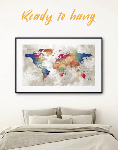 Framed Multicolor World Map Wall Art Print - bedroom Blue brown contemporary wall art framed