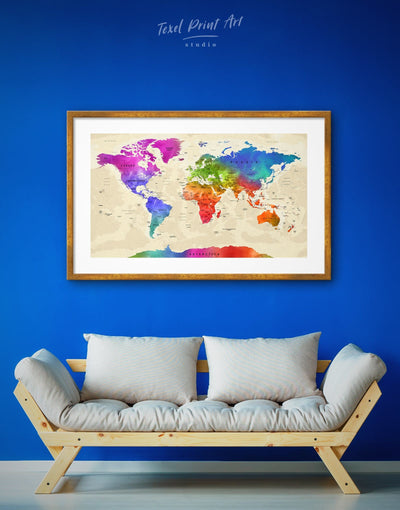 Framed Multicolor World Map Wall Art Print - Blue blue and green wall art contemporary wall art framed framed map wall art