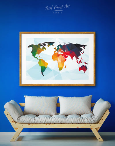 Framed Multicolored World Map Wall Art Print - Abstract map blue framed print framed world map print geometric world map