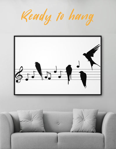 Framed Music Black and White Wall Art Canvas - bedroom Black black and white wall art framed canvas Hallway