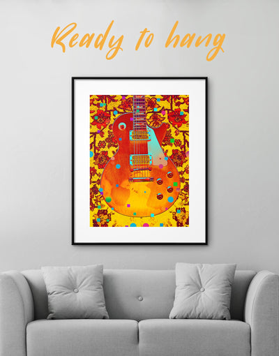 Framed Music Guitar Wall Art Print - bedroom framed print Living Room Music studio Musical