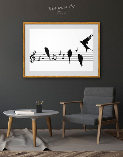 Framed Music Notes Wall Art Print - bedroom Black black and white wall art framed print Hallway