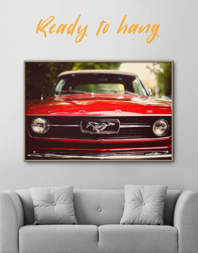 Framed Mustang Sports Car Wall Art Canvas - bachelor pad Car framed canvas garage wall art Hallway
