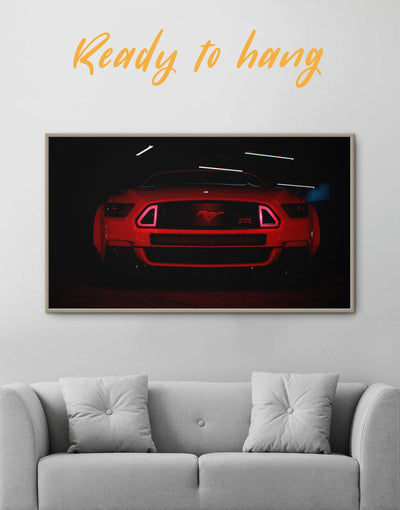 Framed Mustang Wall Art Canvas - bachelor pad black car framed canvas garage wall art