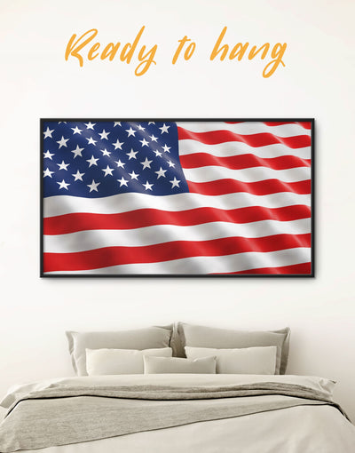 Framed National Flag of the USA Wall Art Canvas - American flag bedroom blue Flag Wall Art framed canvas