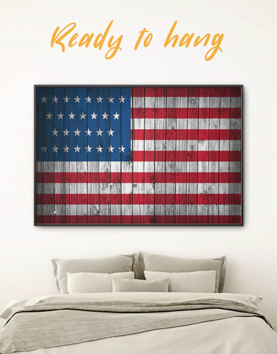 Framed National US Flag Wall Art Canvas - American flag Blue Flag Wall Art framed canvas Living Room