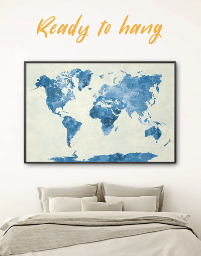 Framed Navy Blue World Map Wall Art Canvas - Abstract map aqua blue Blue Blue Abstract Wall art blue wall art for bedroom