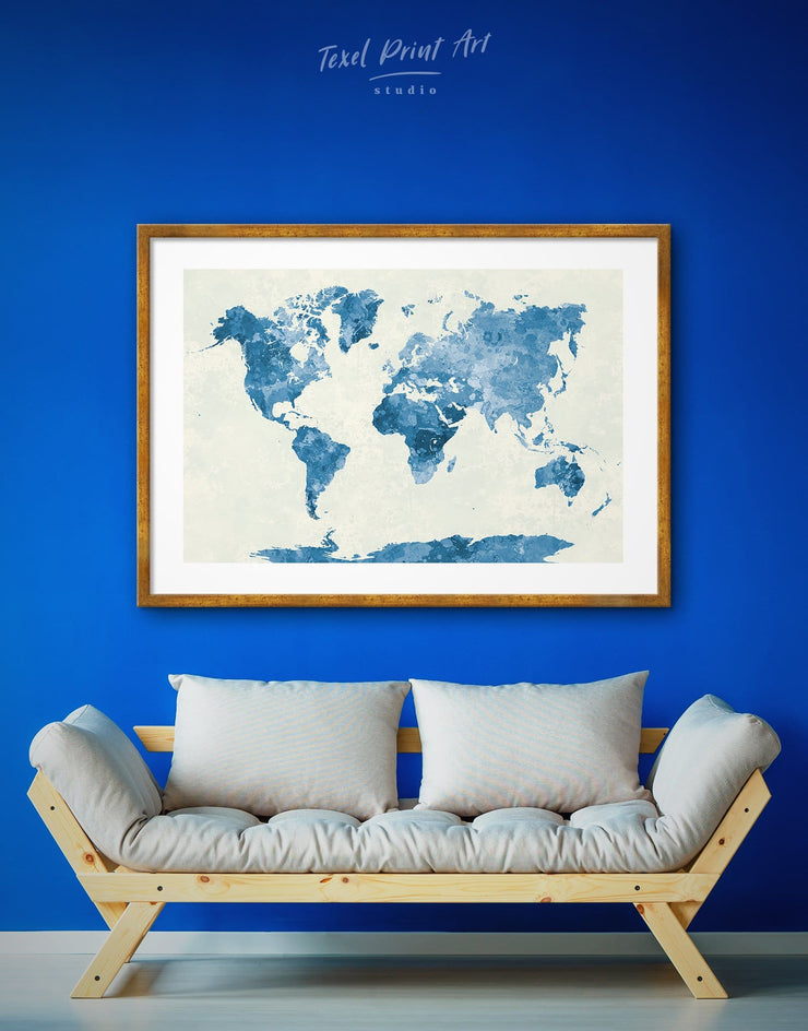 Framed Navy Blue World Map Wall Art Print - Abstract map aqua blue Blue Blue Abstract Wall art blue wall art for bedroom