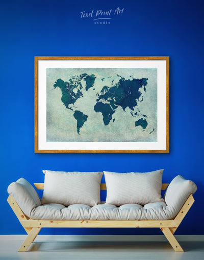 Framed Navy World Map Wall Art Print - Abstract Abstract map bedroom Blue framed print