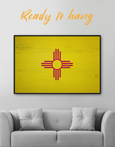 Framed New Mexico Flag Wall Art Canvas - Canvas Wall Art flag wall art framed canvas Hallway Living Room Office Wall Art