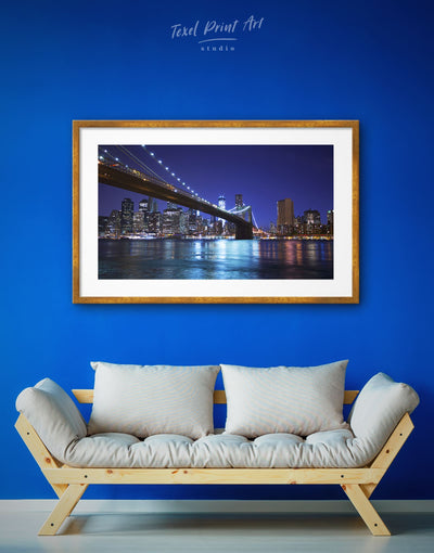 Framed New York Brooklyn Bridge Wall Art Print - bedroom Blue blue wall art for bedroom Blue wall art for living room Bridge
