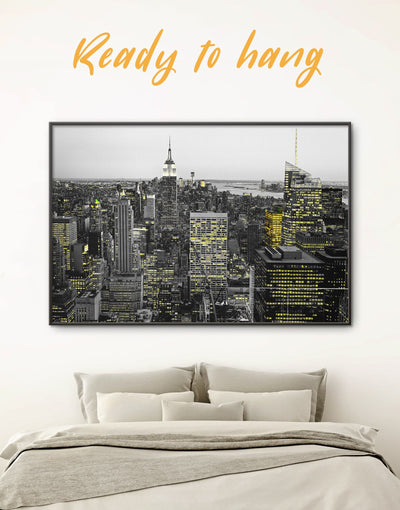Framed New York City Wall Art Canvas - bedroom black and white wall art City Skyline Wall Art Cityscape framed canvas