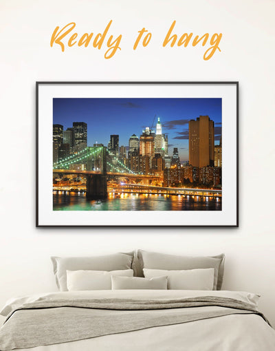 Framed New York City Wall Art Print - bedroom Brooklyn bridge wall art City Skyline Wall Art Cityscape framed print