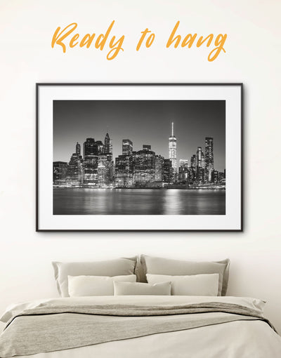 Framed New York Cityscape Wall Art Print - bedroom black and white framed wall art black and white wall art City Skyline Wall Art Cityscape